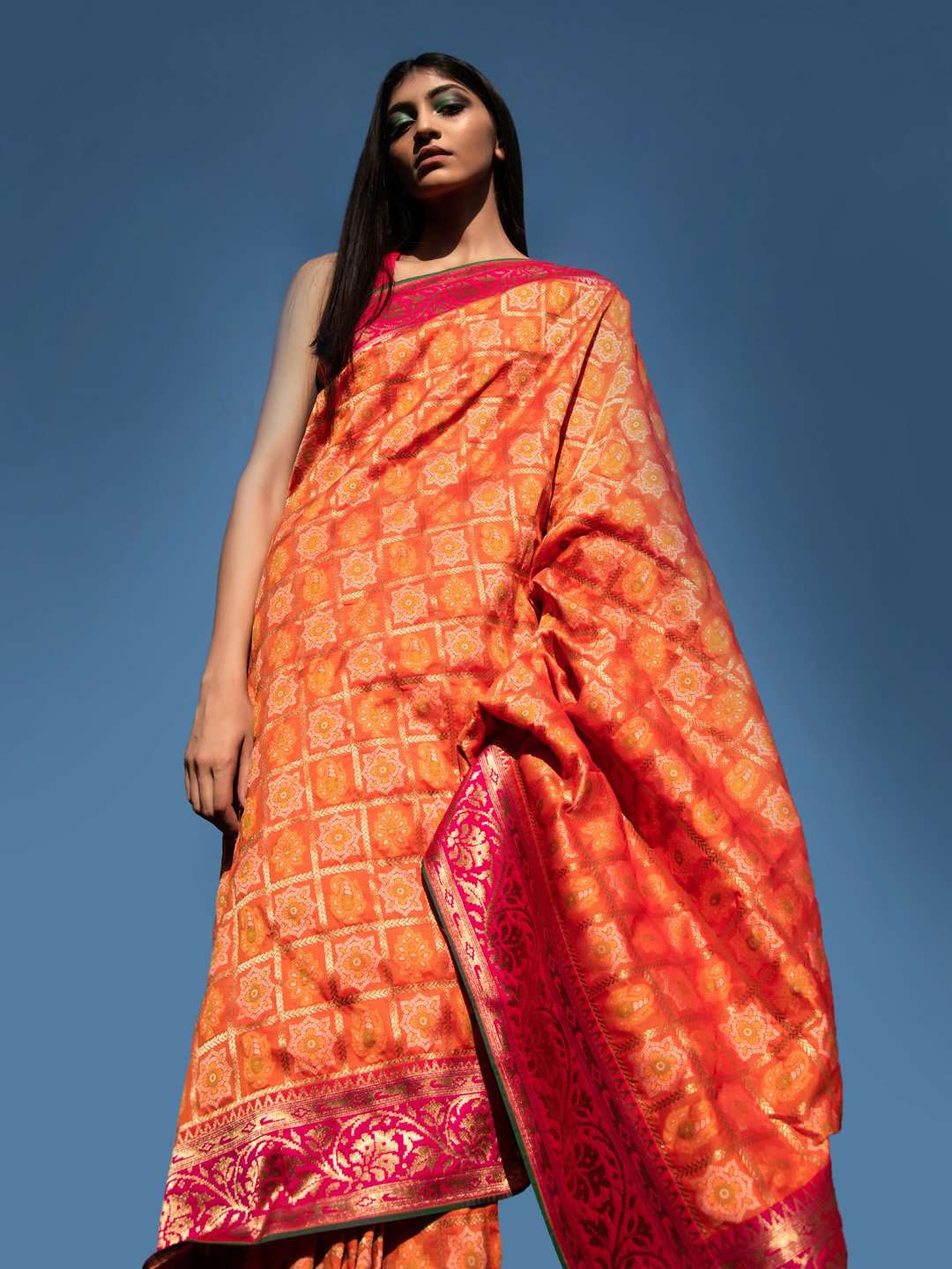 Orange Bandhani Woven Design Silk Saree