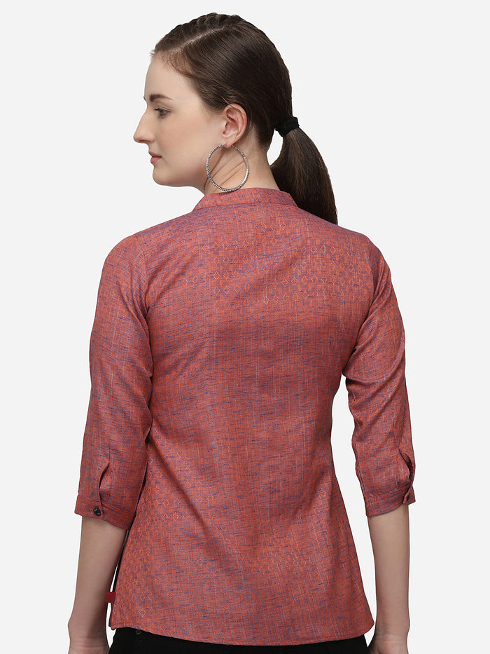 Rust Woven Weave Cotton A Line Tunic