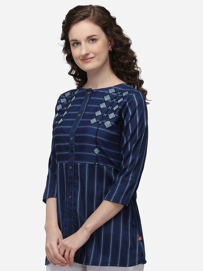 Left Side Blue Embroidered Viscose Rayon Peplum Tunic