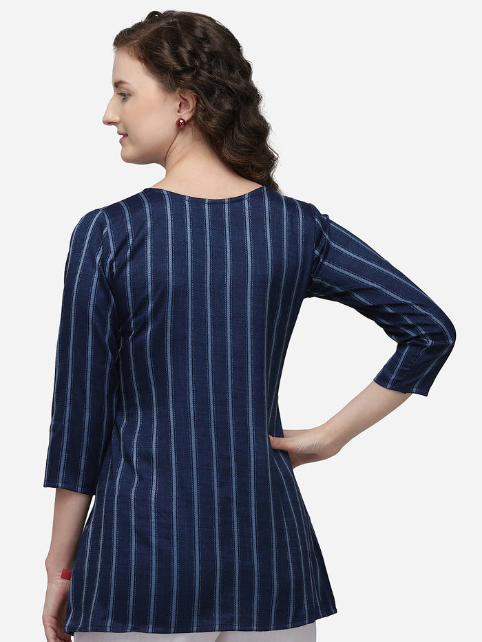 Back Side Blue Embroidered Viscose Rayon Peplum Tunic