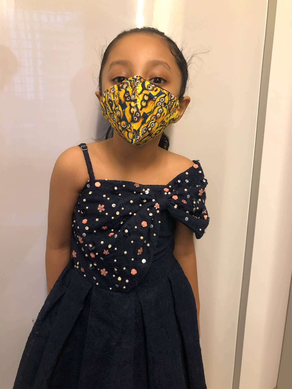 Layered Printed Cotton Mask For Kids With Yellow Design Color