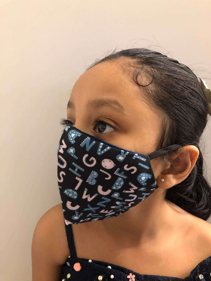 Cartoon Cotton Layered Face Mask For Kids With Mesh & Black Color