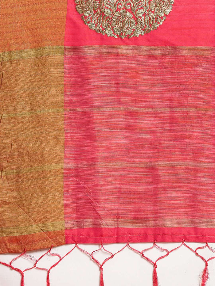 Pink Embroidered Cotton Silk Saree