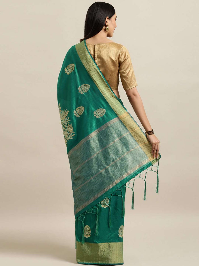 Green Embroidered Cotton Silk Saree