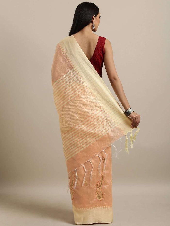 Orange Woven Cotton Silk Saree