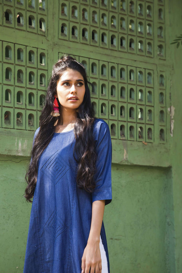 Left Side Plain Denim Straight Kurti With Navy Blue Color