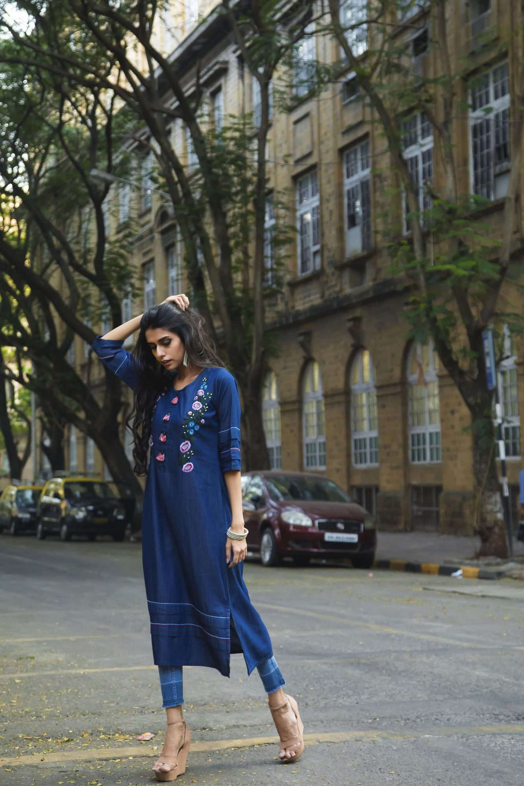 Front Side Embroidered Denim Kurti With Bluebird Blue Color