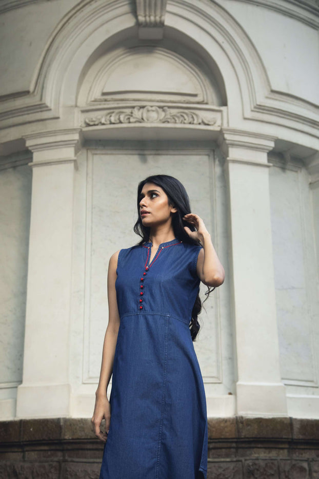 Front Side Bunting Blue Embroidered Denim Kurti