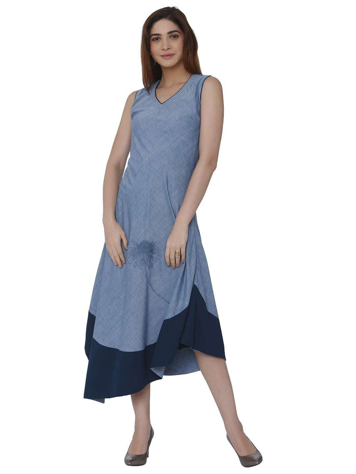 Front Side Casual Baanwri Light Blue Linen Labby Silk Kurti