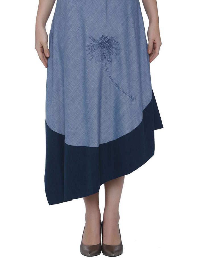 Down Side Baanwri Light Blue Linen Labby Silk Kurti