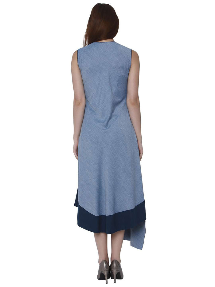 Back Side Linen Labby Silk Kurti With Baanwri Light Blue Color