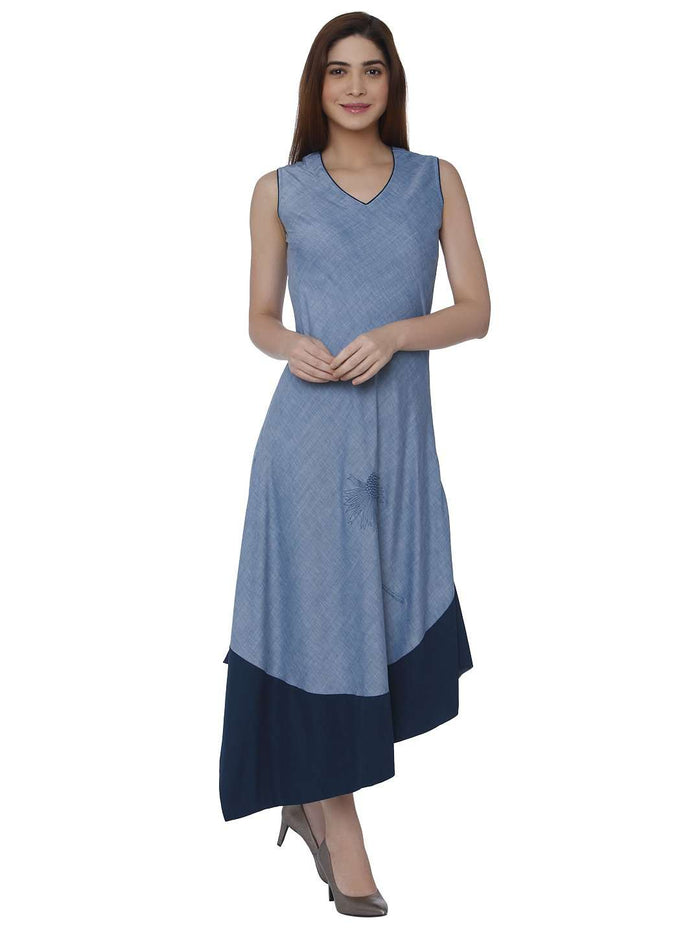 Front Side Linen Labby Silk Kurti With Baanwri Light Blue Color