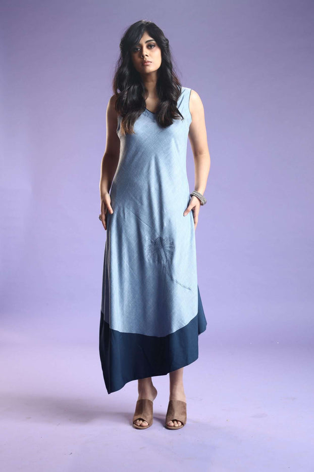 Front Side Baanwri Light Blue Linen Labby Silk Kurti