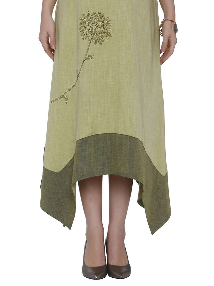 Down Side Banjaran Green Linen Labby Silk Kurti