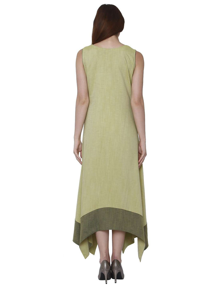 Back Side Linen Labby Silk Kurti With Banjaran Green Color