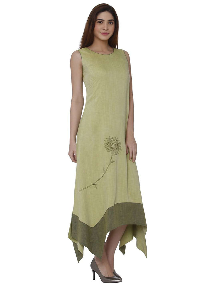 Right Side Linen Labby Silk Kurti With Banjaran Green Color