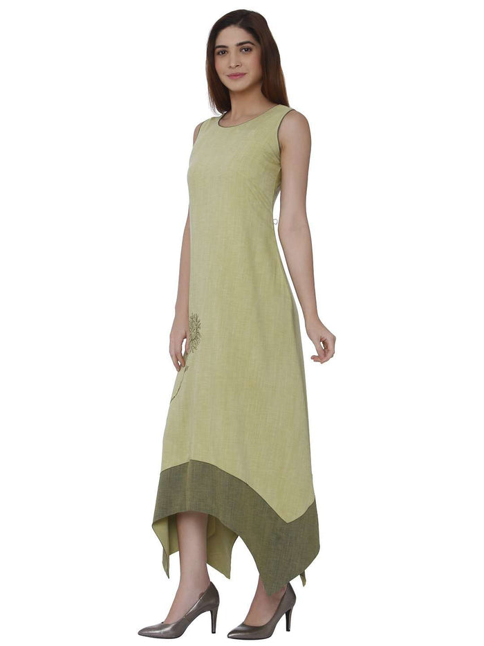 Left Side Linen Silk Kurti With Banjaran Green Color