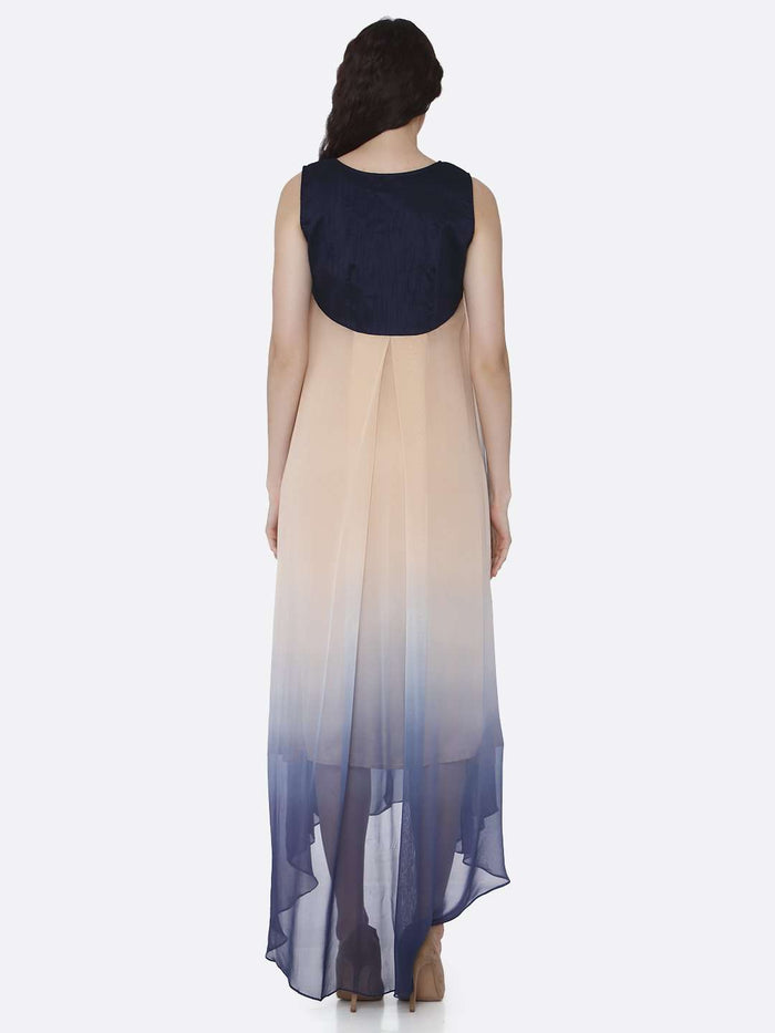 Back Side Beige & Blue Ombre Georgette Dress