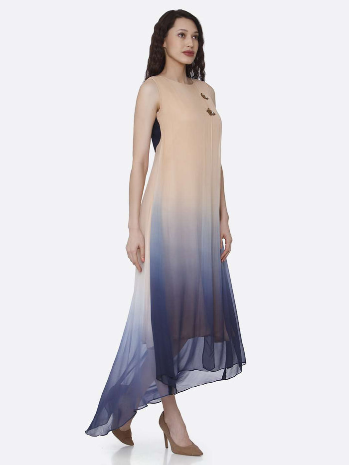 Right Side Beige & Blue Ombre Georgette Dress