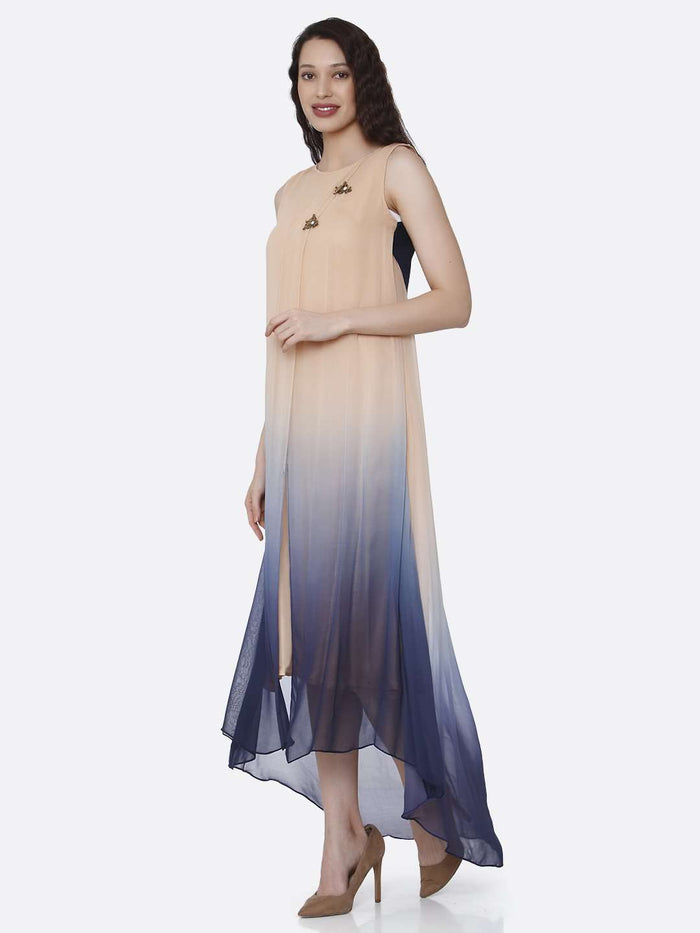 Left Side Beige & Blue Ombre Georgette Dress
