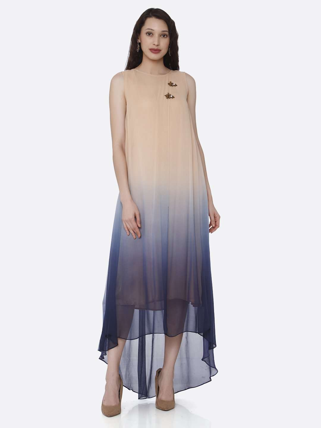 Front Side Beige & Blue Ombre Georgette Dress