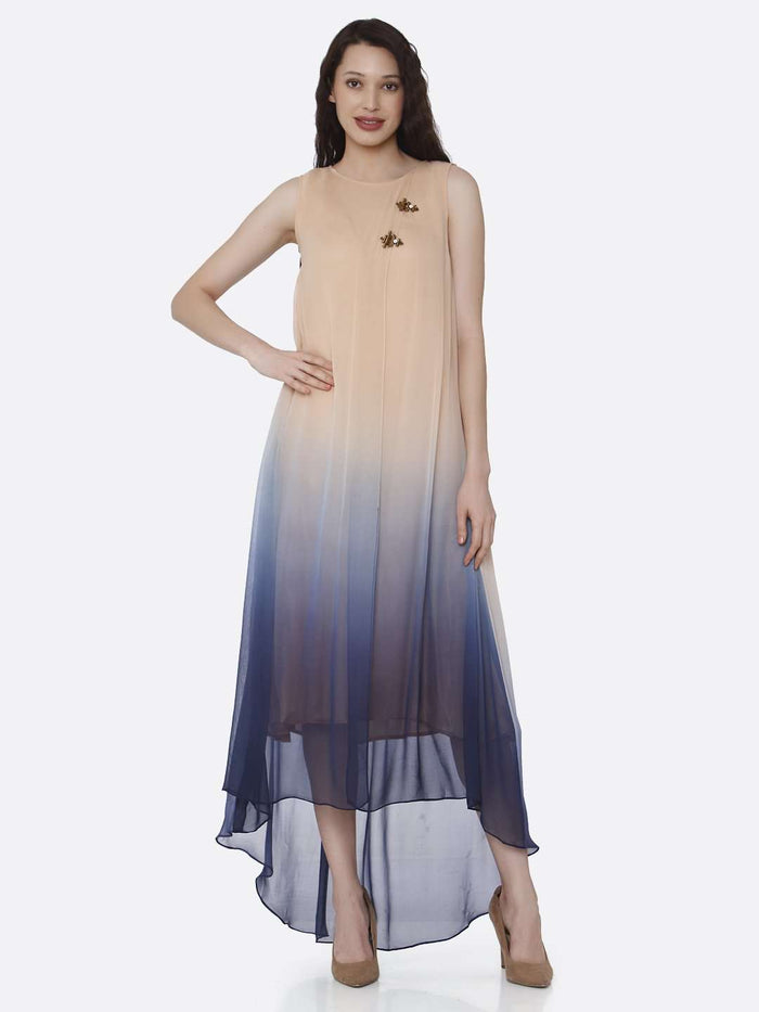 Round neck Beige & Blue Ombre Georgette Dress