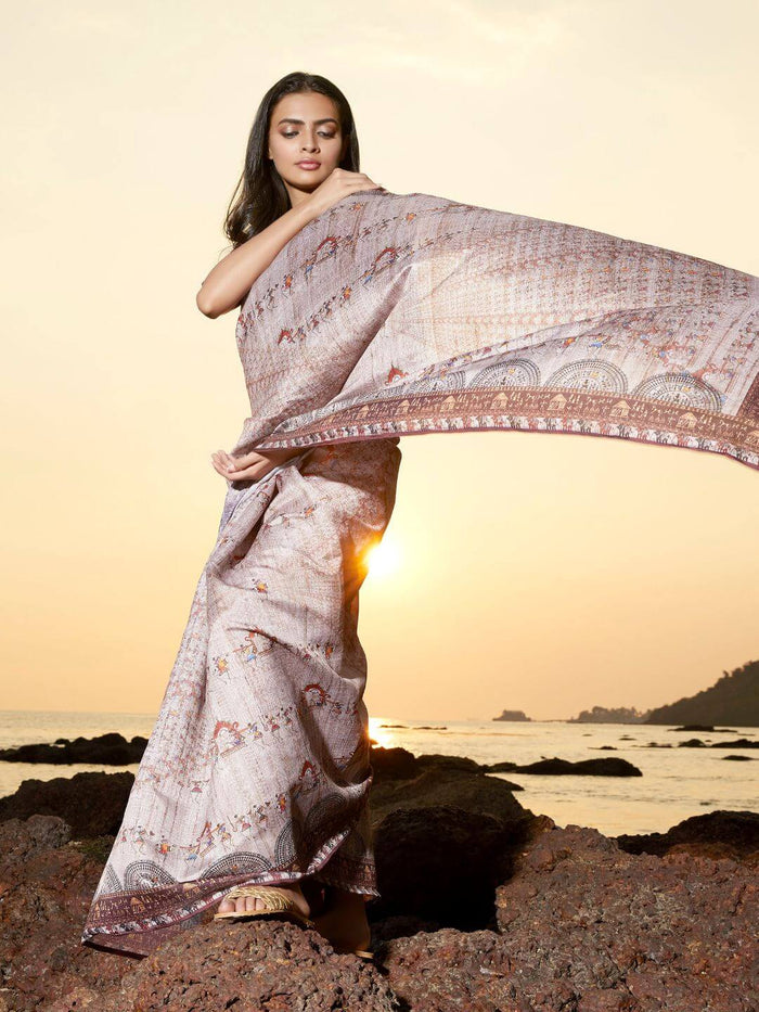 Beige Digital Print Manipuri Silk Saree