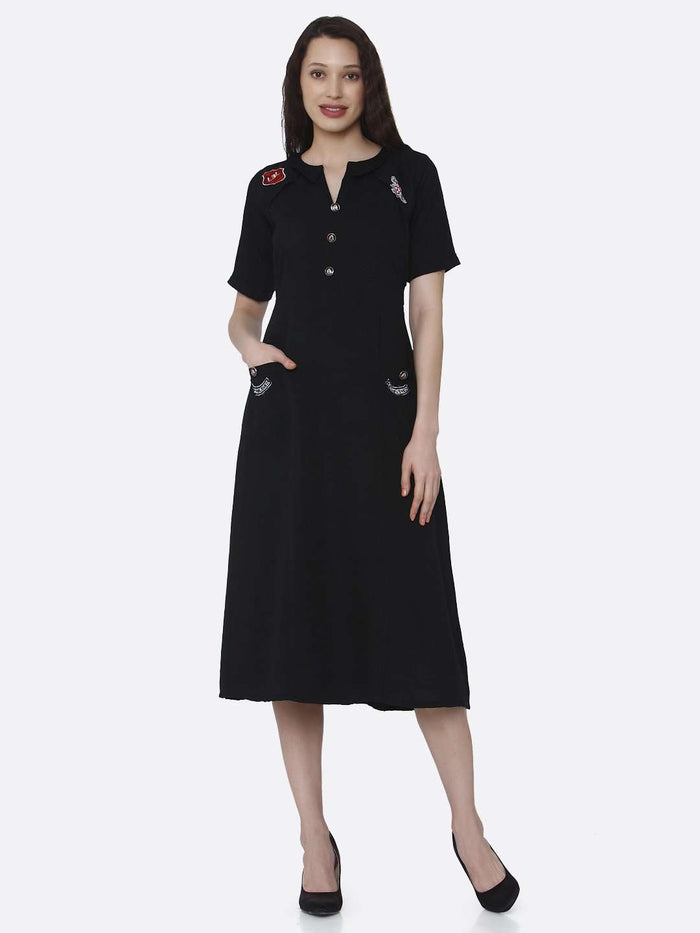 Front Side Plain Cotton Pleated Dress With Black Color