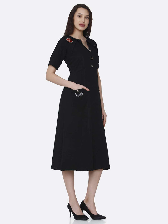 Right Side Black Plain Cotton Pleated Dress