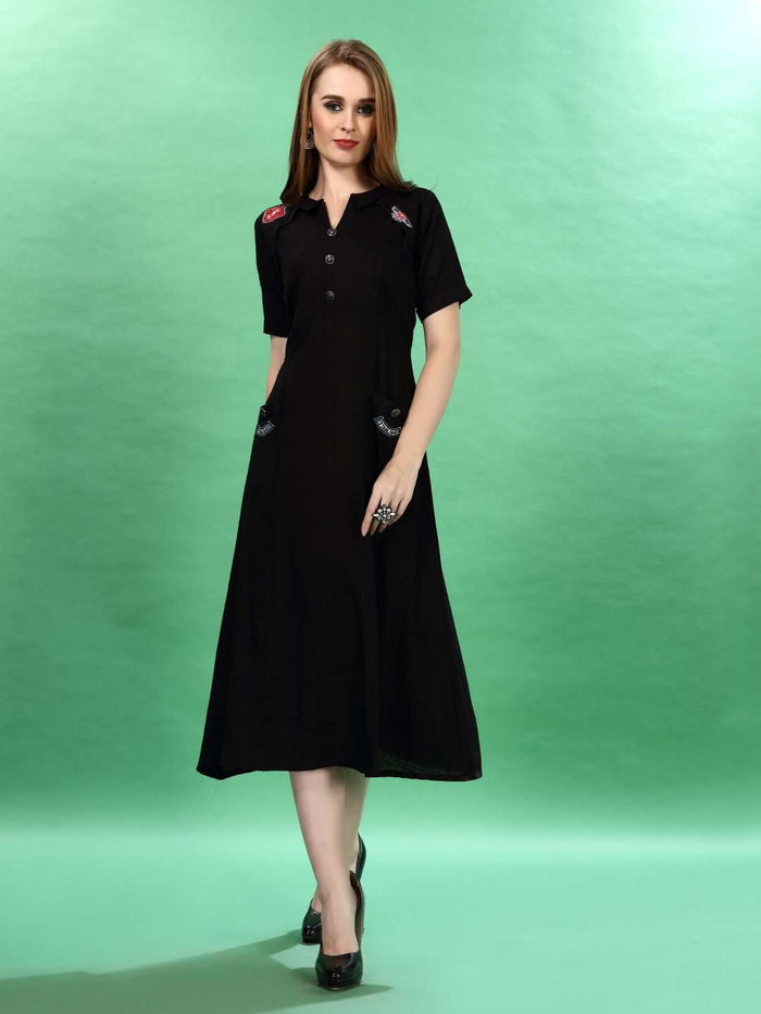 Black Plain Cotton Pleated Dress