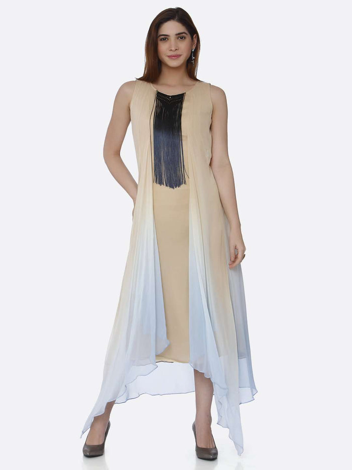 Front Side Ombre Georgette Dress With Blue & Beige Color