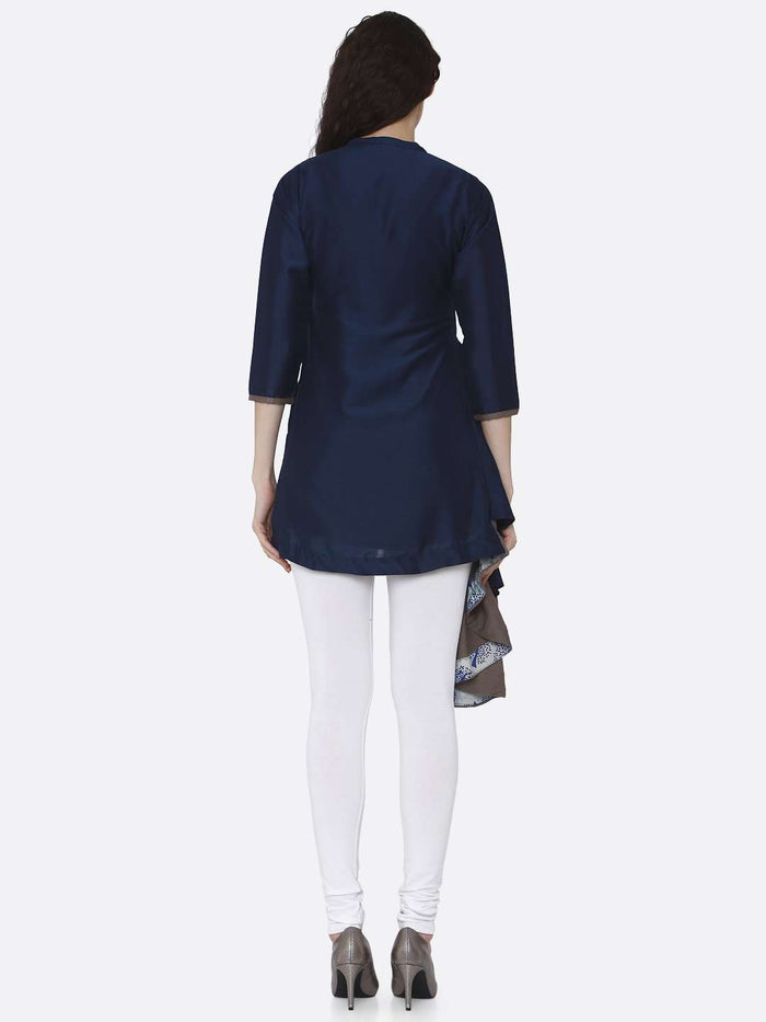 Back Side Blue Plain Viscose Asymmetric Tunic With White Pant
