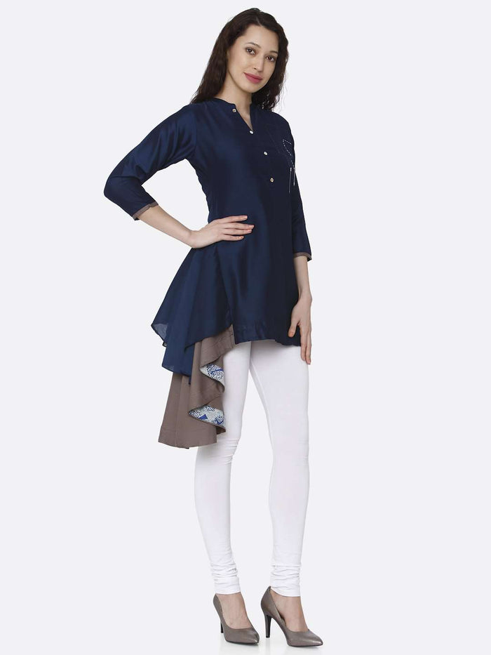 Right Side Blue Plain Viscose Asymmetric Tunic With White Pant