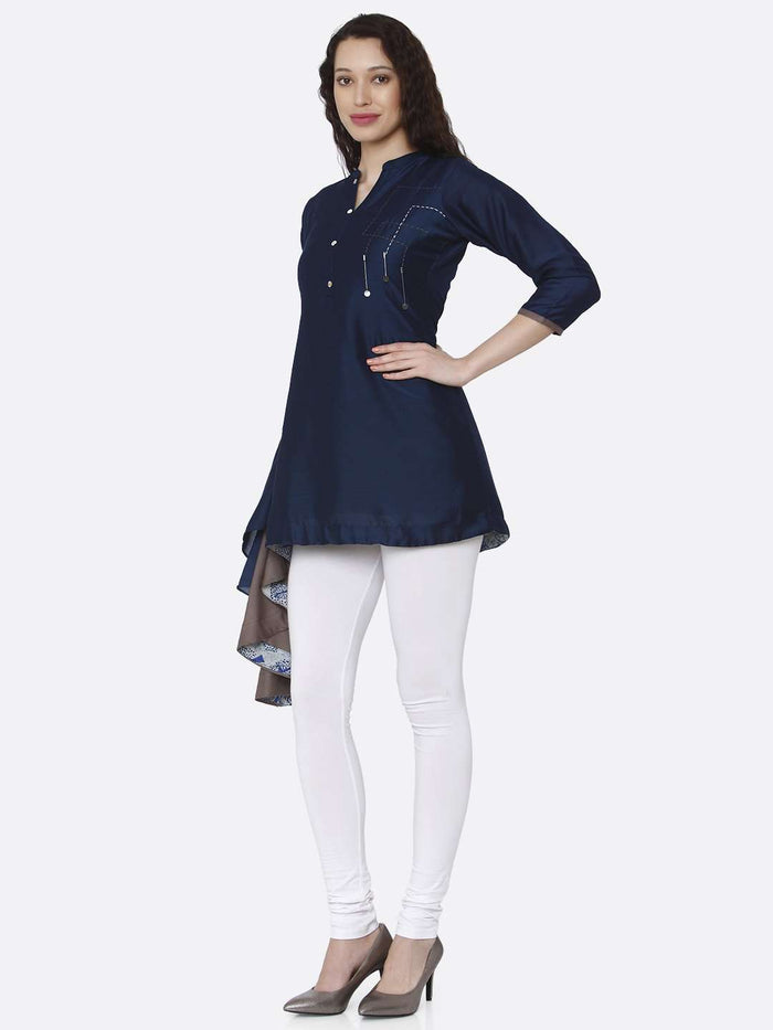Left Side Blue Plain Viscose Asymmetric Tunic With White Pant