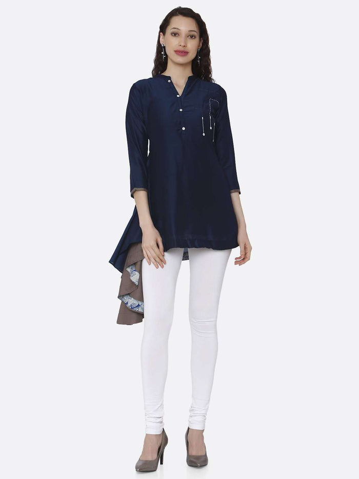 Front Side Casual Blue Plain Viscose Asymmetric Tunic