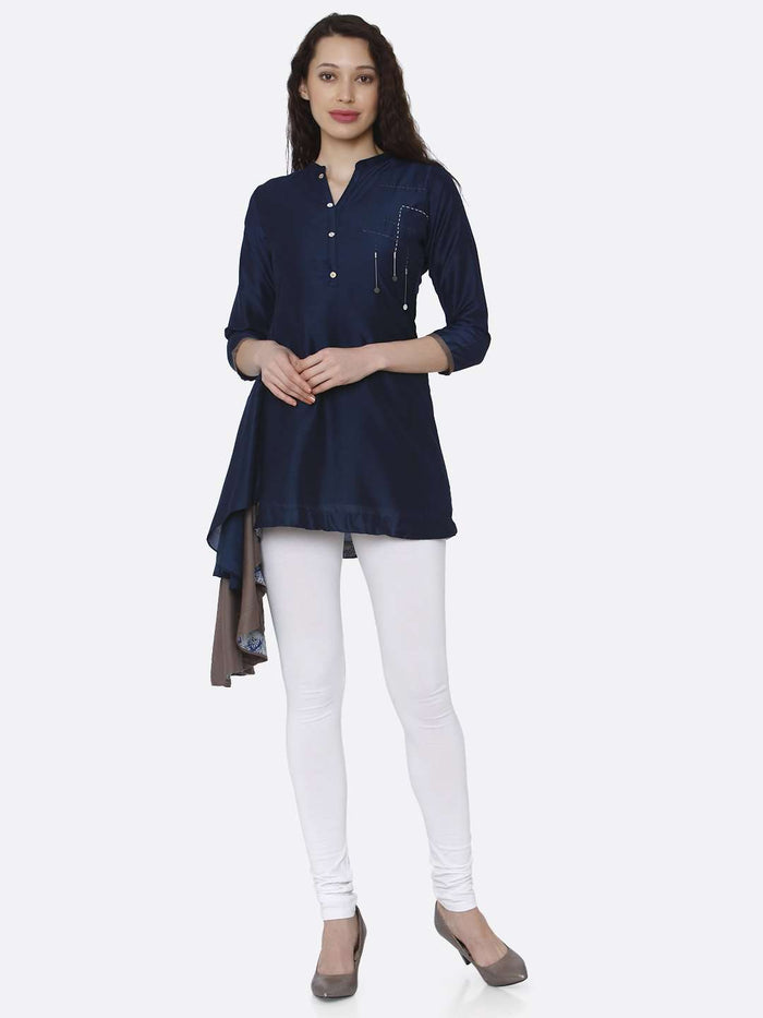 Front Side Blue Plain Viscose Asymmetric Tunic