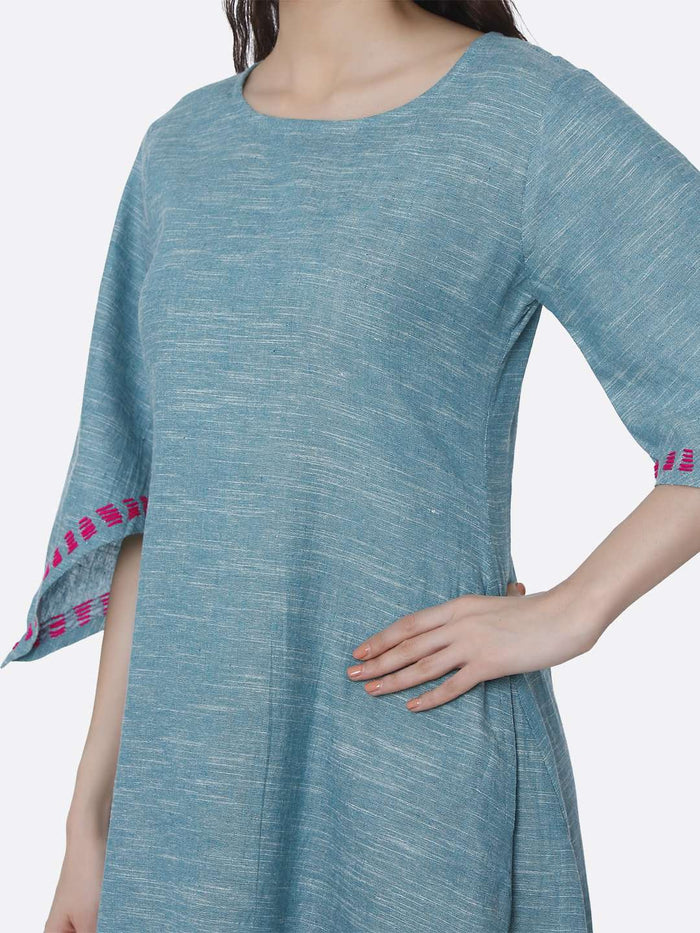 Light Blue Solid Cotton Dress with Handkerchief Hem