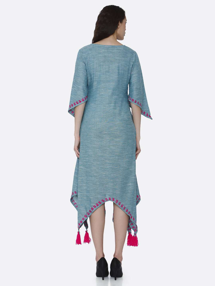 Back Side Light Blue Solid Cotton Dress with Handkerchief Hem