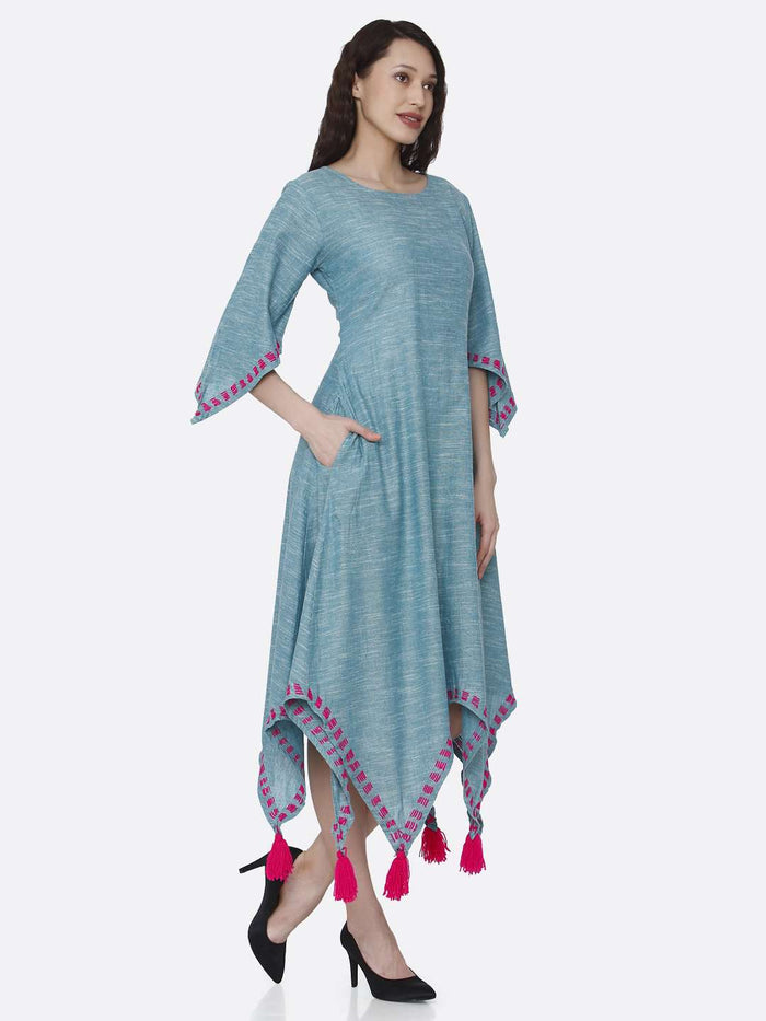 Right Side Light Blue Solid Cotton Dress with Handkerchief Hem