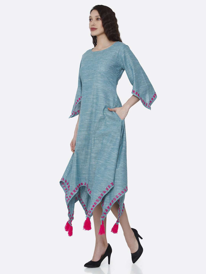 Left Side Light Blue Solid Cotton Dress with Handkerchief Hem