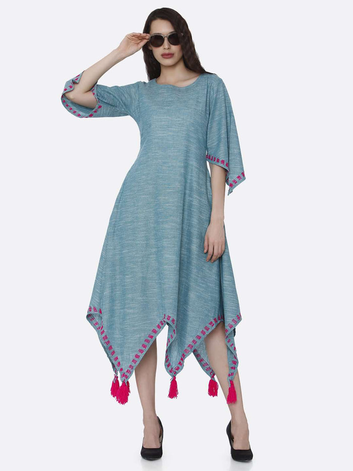 Casual Light Blue Solid Cotton Dress with Handkerchief Hem