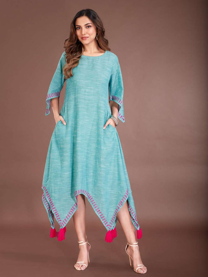 Front Side Light Blue Solid Cotton Dress with Handkerchief Hem