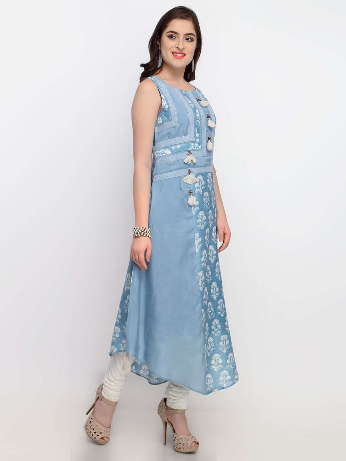 Right Side Light Blue Viscose Printed Asymmetric Dress