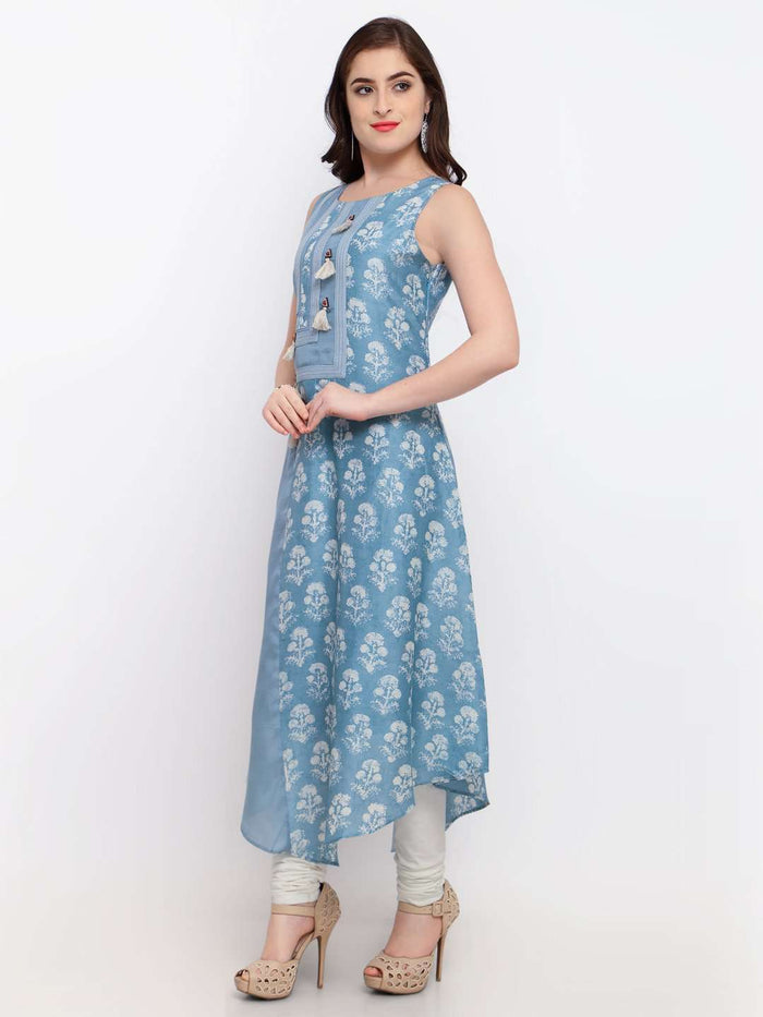 Left Side Viscose Printed Asymmetrical Dress With Light Blue Color