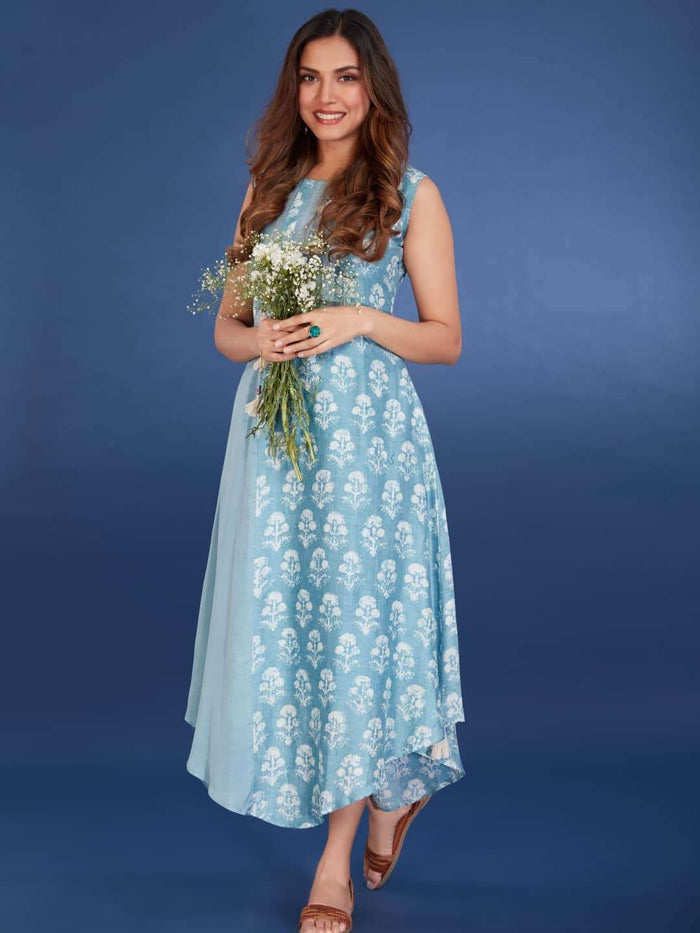 Right Side Viscose Printed Asymmetrical Dress With Light Blue Color