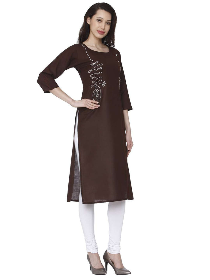 Right Side Brown Cotton Rayon Kurti With White Palazzo Pant
