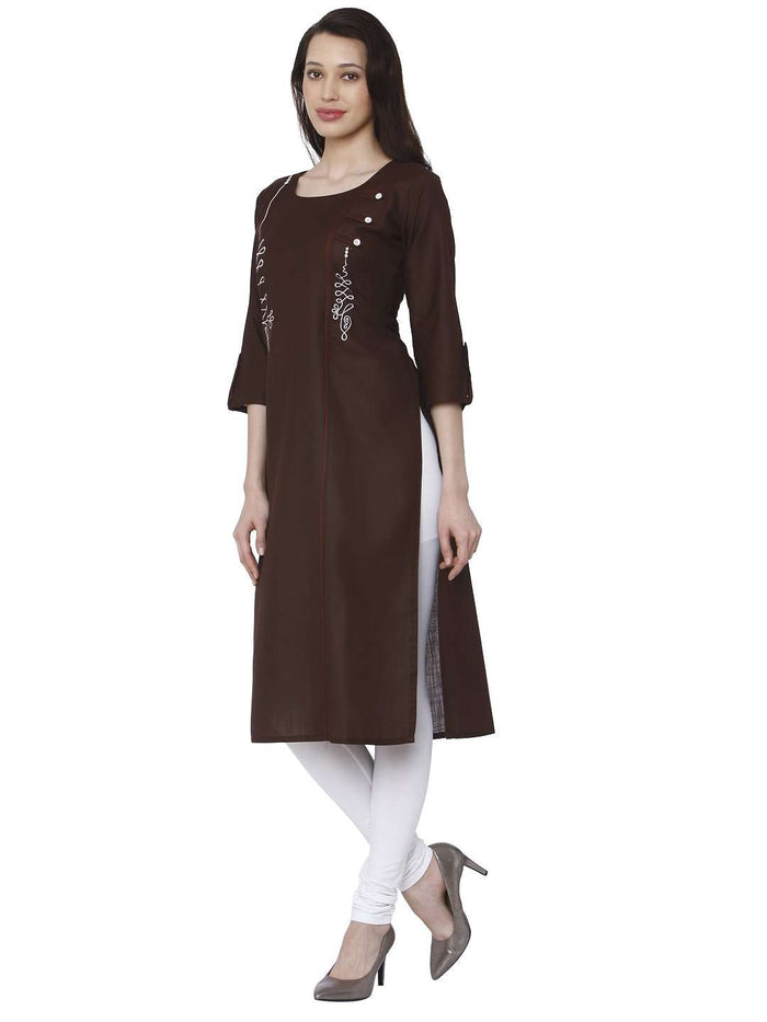 Left Side Brown Cotton Rayon Kurti With Palazzo Pant