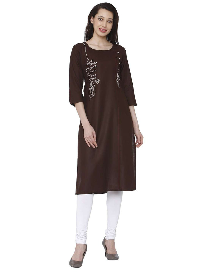 Front Side Brown Cotton Rayon Kurti With White Palazzo Pant