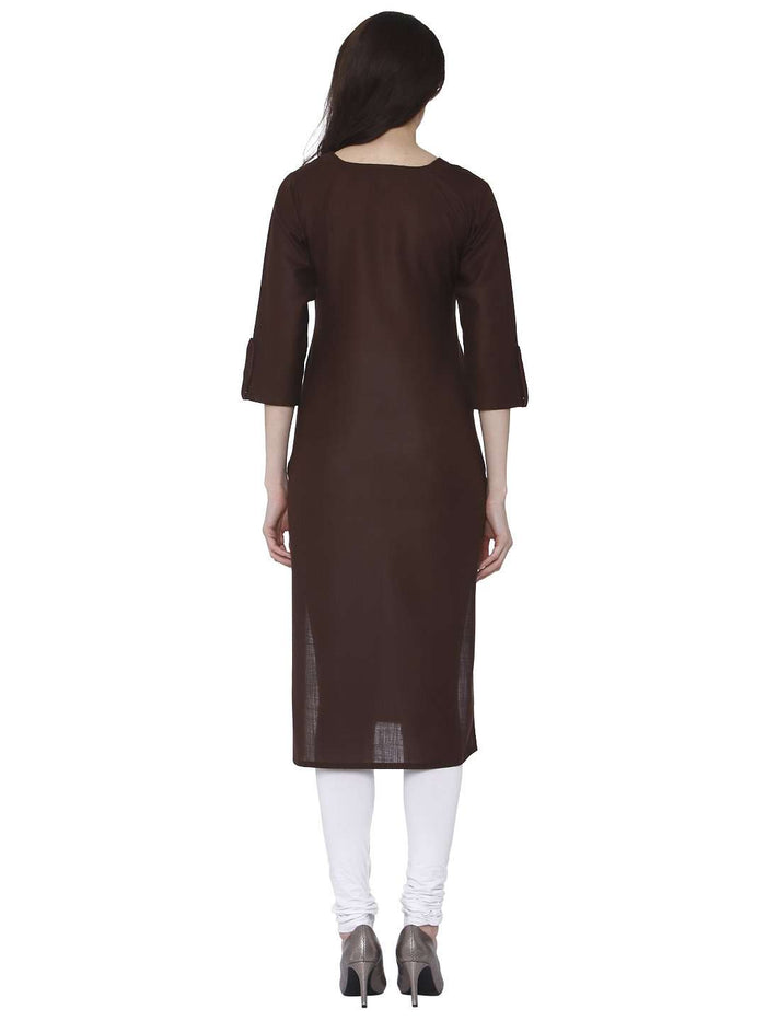 Back Side Brown Cotton Rayon Kurti With White Palazzo Pant