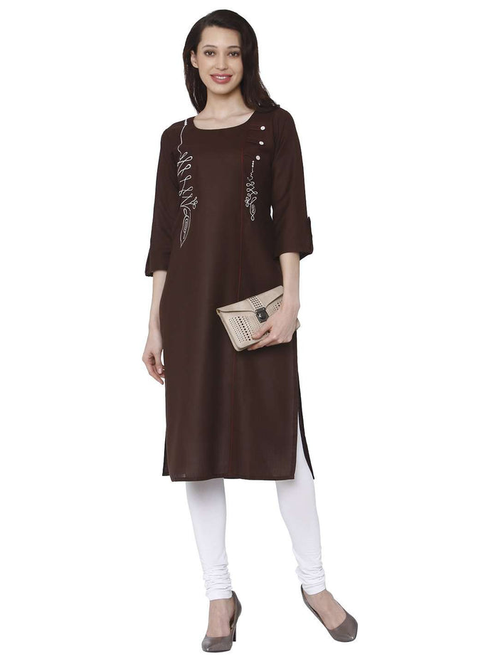 Casual Brown Cotton Rayon Kurti With White Palazzo Pant